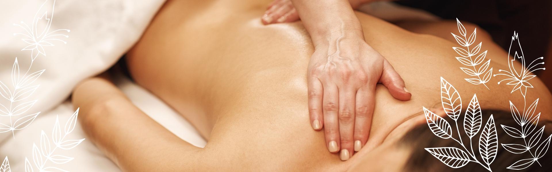 Körperpflege - duschende Frau. Links und Rechts Bläter-Deko-Elemente
