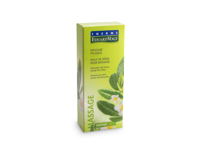 Massage Pflegeöl Energy in Verpackung