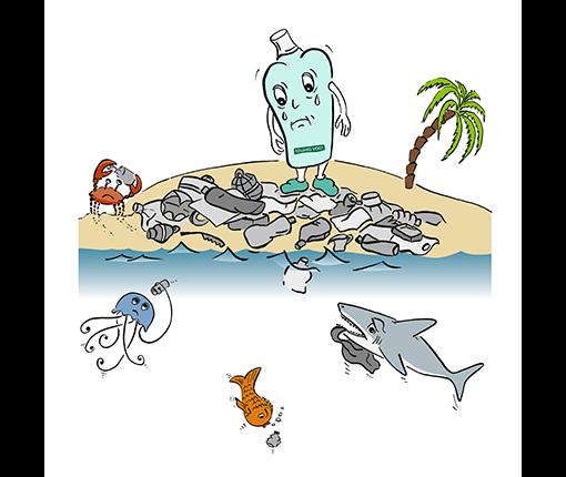 Nachfüllservice-Maskottchen - Flasche traurig an verschmutzen Strand